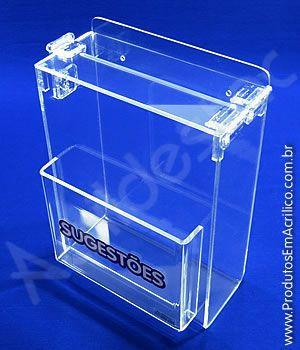 Caixa de Sugestões em Acrilico Cristal 24cm Bolso A5 para parede