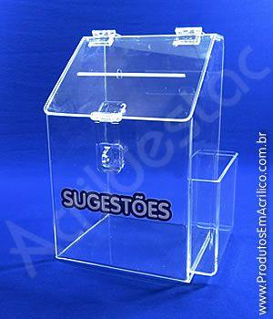 Caixa de Sugestões em Acrílico Cristal 25cm para pesquisas e sorteio