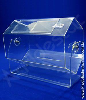 Urna de acrilico sextavado 30x22 cm para cupons sorteio Produtos em Acrilico