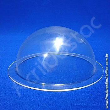 Cupula de Acrilico cristal 15cm diametro redoma com Aba