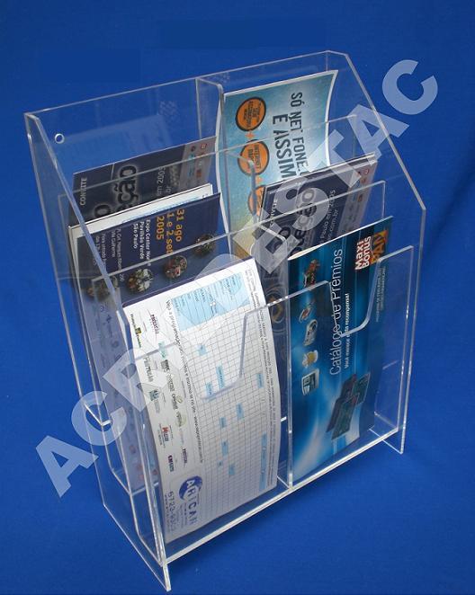 Display acrilico 6 Bolsos Cascata com divisorias 21x11 Porta Folders Parede Mesa