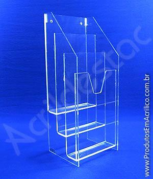 Display Acrilico A5 21x15 Cascata Bolso triplo para Parede ou Mesa Porta Folders, Flyers