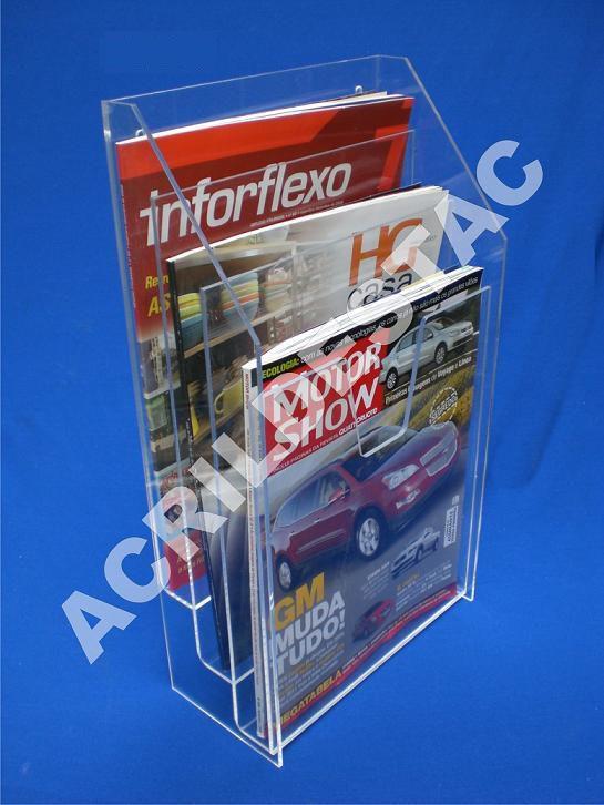 Display acrilico Cascata A4 30x21 balcão e parede Bolso Triplo Porta Folhetos Revistas