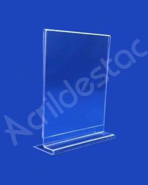 Display acrilico de mesa T para folhetos e propagandas A5 21x15 Vertical