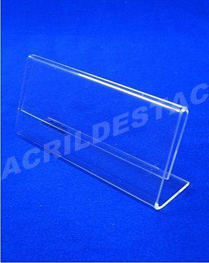 Display acrilico em L transparente expositor de cargos nomes e menus 8x21,5cm