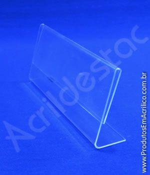 Display acrilico L porta etiqueta e precificador 4x8cm