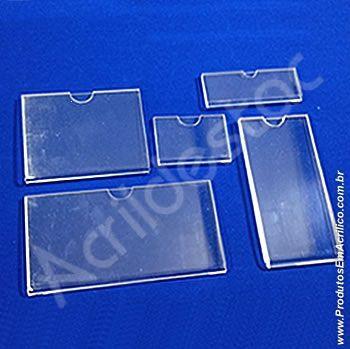 Display Acrilico modelo U precificador e porta etiquetas 10x5cm Vertical