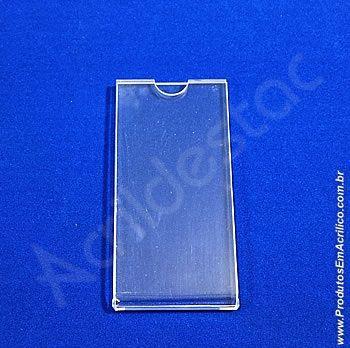 Display Acrilico Precificador e porta folheto 12x6cm vertical
