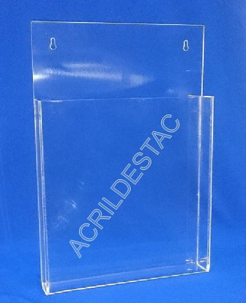 Display Acrilico para parede com bolso Porta folders, livro do consumidor A5 21x15