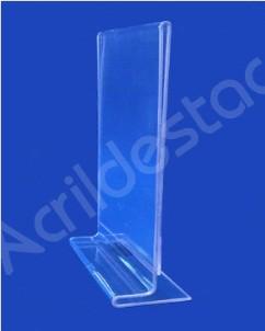 Display acrilico T duplo de mesa para folhas A3 42x30 Vertical