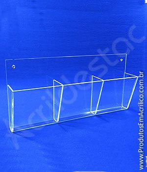 Display acrilico Triplo A6 para parede em grau, Porta Envelopes, Folhetos e Volantes