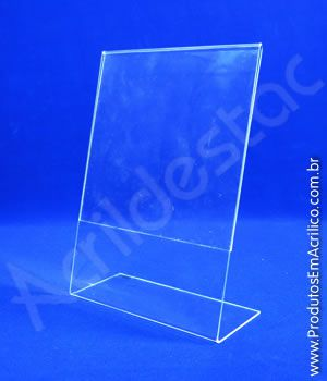 Display de acrilico em L para mesa e balcão expositor de panfleto A5 21x15 Vertical