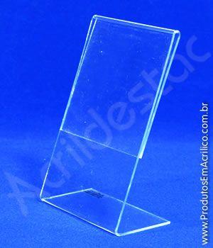 Display de acrilico em L para mesa e balcão A6 15x10 Vertical