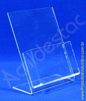 Display porta folheto com bolso acrilico mesa balcão A6 15x10cm