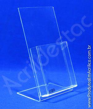 Display acrilico de mesa com bolso A4 30x21 Vertical Porta Folhetos de balcão