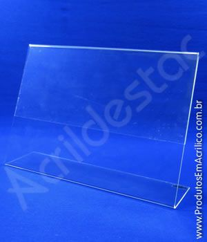 Display de acrilico para mesa e balcão formato L A4 21x30 Horizontal