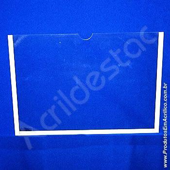 Display de Acrilico Cristal para parede com moldura Bolso Folha A3 Horizontal