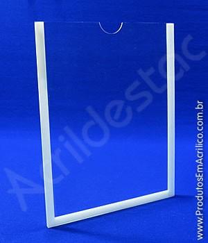 Display de acrilico Cristal Porta Folheto de parede com moldura A6 Vertical