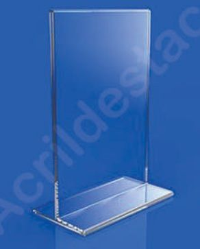Display de acrilico T de mesa para folhetos e folders A4 30x21 Vertical