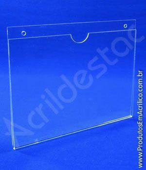 Display de acrilico para Parede com Fundo Dobrado U A3 Horizontal