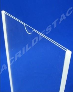 Display de Acrilico Porta Folheto de parede DUPLO Com Fundo A4 Horizontal