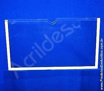 Display de Acrilico Porta Folheto de parede DUPLO Com Fundo A5 Horizontal