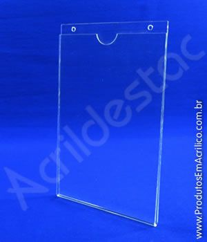 Display de acrilico Porta Folheto de parede modelo U Duplo A1 84 x 59,4 Vertical 3mm