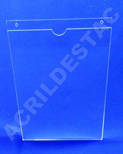Display de acrilico Porta Folheto de parede modelo U Duplo A2 59,4x42 Vertical 3mm