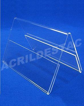 Display acrilico Prisma de mesa A6 10 x 15 dupla face