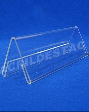 Display de acrilico Prisma identificador de mesa nomes e cargos 10 x 30 dupla face