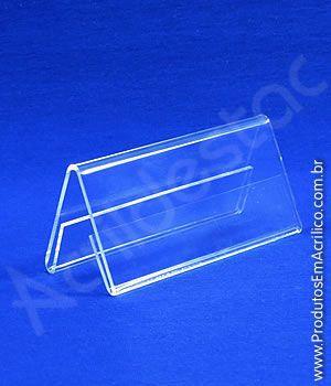 Display de acrilico Prisma de mesa e precificador 4,5 x 6 dupla face