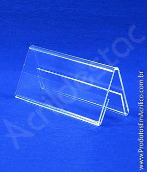 Display de acrilico Prisma de mesa e precificador 4,5 x 10 dupla face