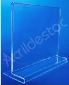 Display de acrilico T invertido para balcão mesa restaurante A6 10x15 Horizontal