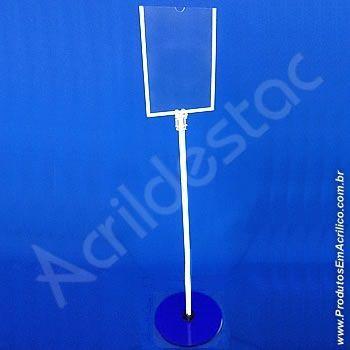Porta Cardapio Pedestal de Chão Acrilico para Folder A4 30x21 Vertical