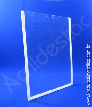 Display PETG Cristal Porta Aviso moldura dupla face Bolso Folha A3 42x30 Vertical