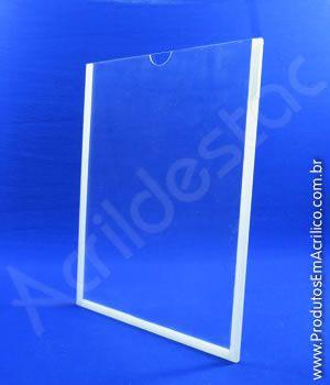Display de PETG Cristal Porta Folheto de Parede moldura dupla face A5 21x15 Vertical