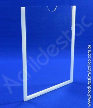 Display PETG Cristal Porta Folha de Parede ou Elevador moldura dupla face A4 30x21 Vertical