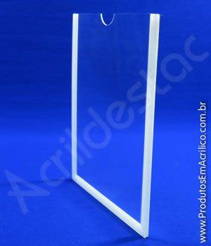 Display para parede PS Cristal acrilico similar com moldura para Quadro de Aviso A2 Vertical