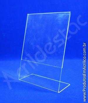 Display de PS cristal acrilico similar em L para mesa e balcão expositor de panfleto A5 Vertical