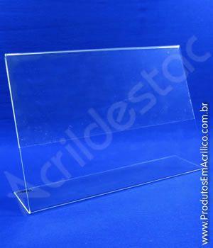 Display de PS cristal acrilico similar em L para mesa e balcão expositor de panfleto A5 Horizontal