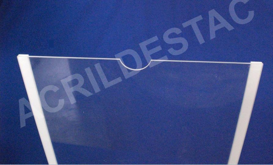 Display de PS Cristal acrilico similar para parede fita dupla face Bolso Folha A3 Horizontal