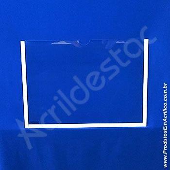 Display de PS Cristal acrilico similar Porta Aviso de parede DUPLO Com Fundo A6 Horizontal