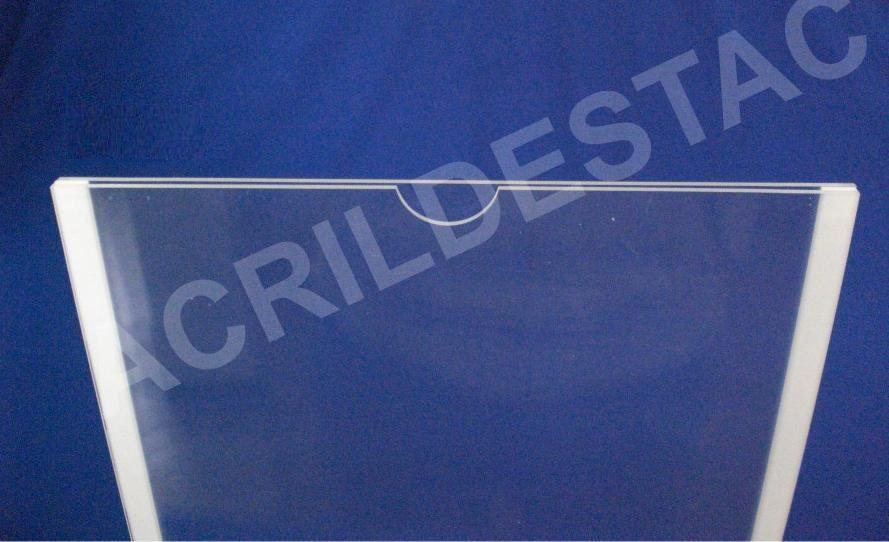 Display de PS Cristal acrilico similar Porta Folha para Parede ou Elevador DUPLO Com Fundo A4 Horizontal