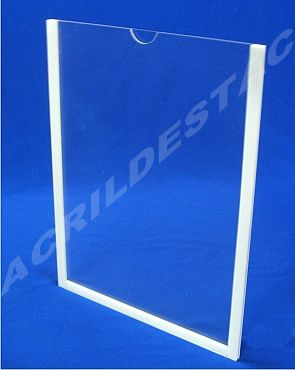Display de PS Cristal acrilico similar Porta Folha para Parede ou Elevador DUPLO Com Fundo A4 Vertical