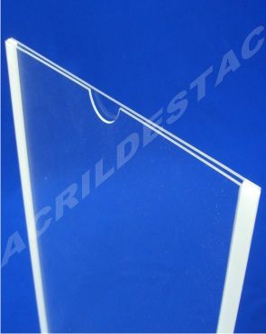 Display de PS Cristal acrilico similar Porta Folheto de parede DUPLO Com Fundo A5 Vertical