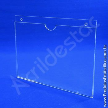Display de PS Cristal acrilico similar Porta Folhetos de parede modelo U Duplo A5 15x21 Horizontal