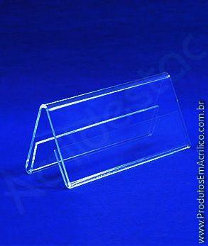 Display de PS Cristal acrilico similar Prisma de mesa e precificador 4,5 x 6 dupla face