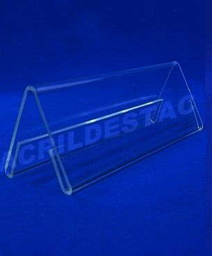 Display de PS Cristal acrilico similar Prisma identificador de mesa 10 x 30 dupla face