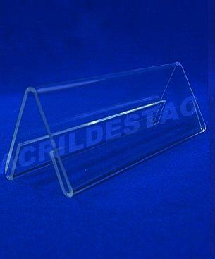 Display de PS Cristal acrilico similar Prisma identificador de mesa 6,5 x 19,5 dupla face