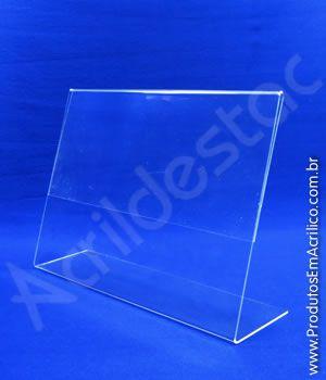 Display de mesa em L PS cristal acrilico similar para balcão A4 21x30 horizontal